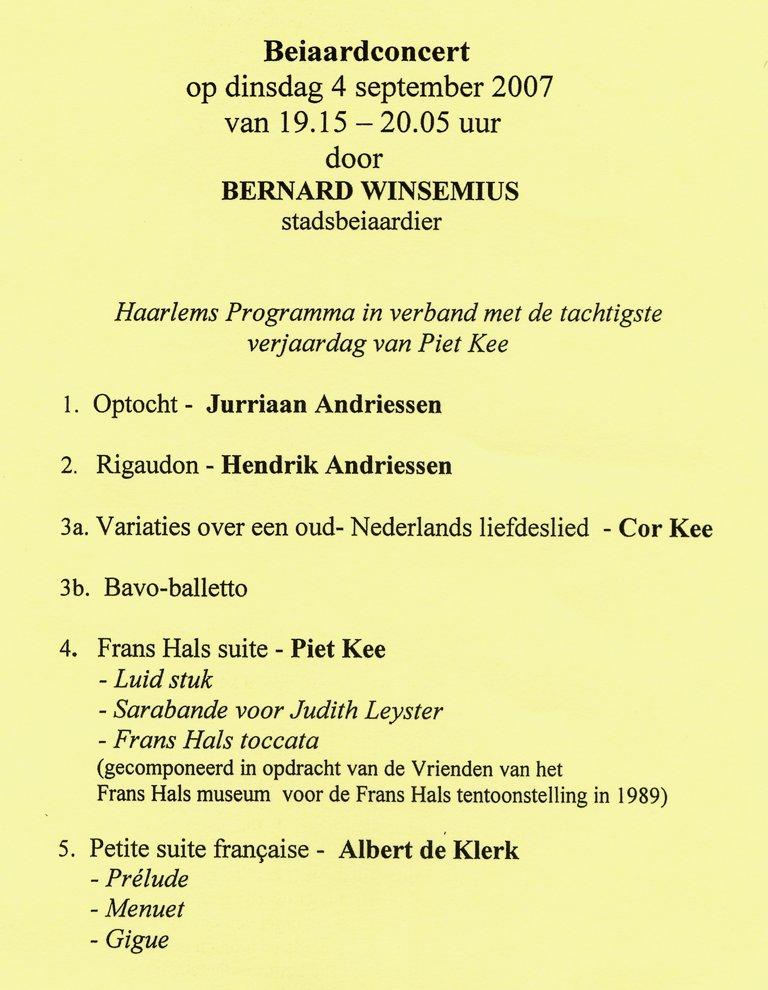 Programma Bernard Winsemius 4 september 2007 Beiaardconcert