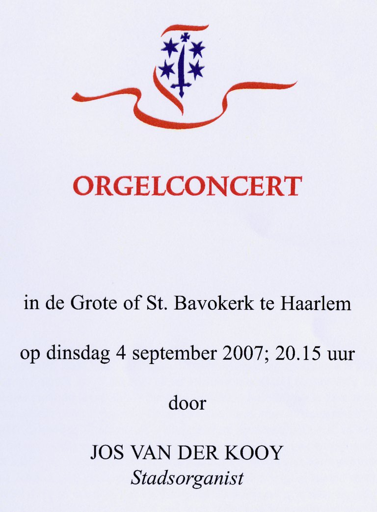Programma Jos van der Kooy 4 september 2007 Orgelconcert