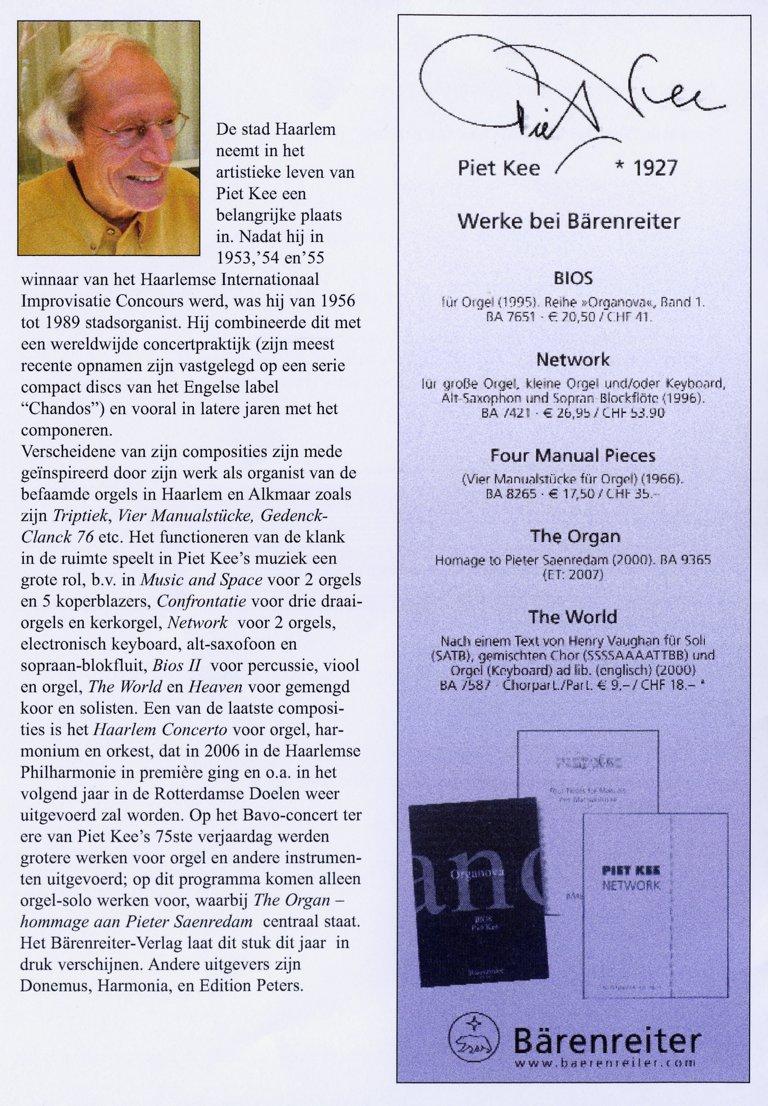 Programma Jos van der Kooy 4 september 2007