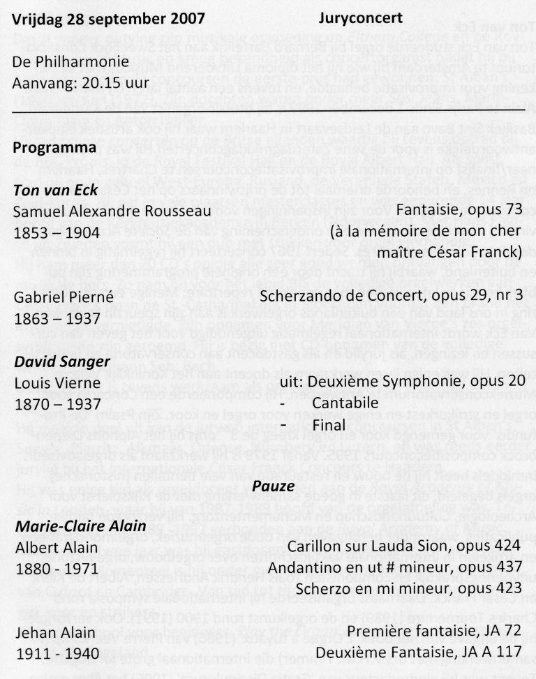 Programma Marie-Claire Alain 28 september 2007