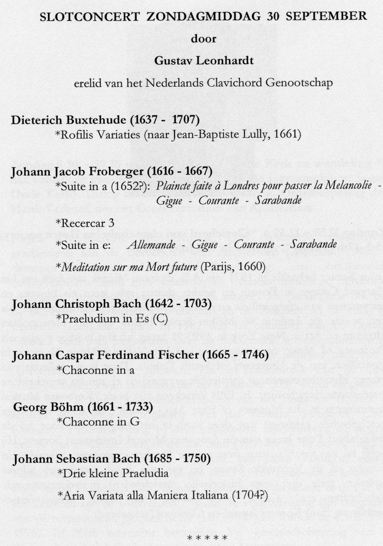 Programma Gustav Leonhardt 30 september 2007