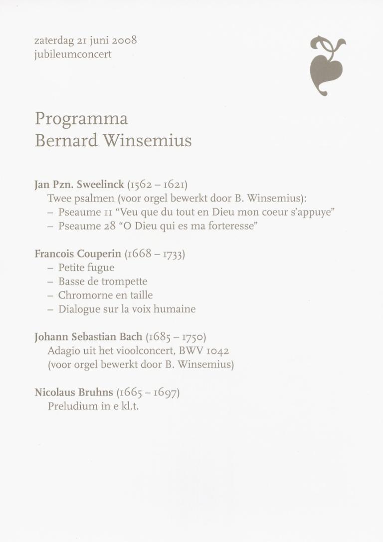 Programma Bernard Winsemius 21 juni 2008