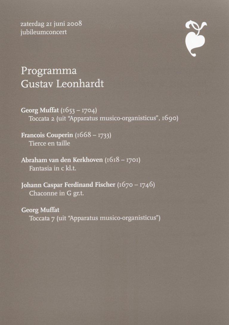 Programma Gustav Leonhardt 21 juni 2008