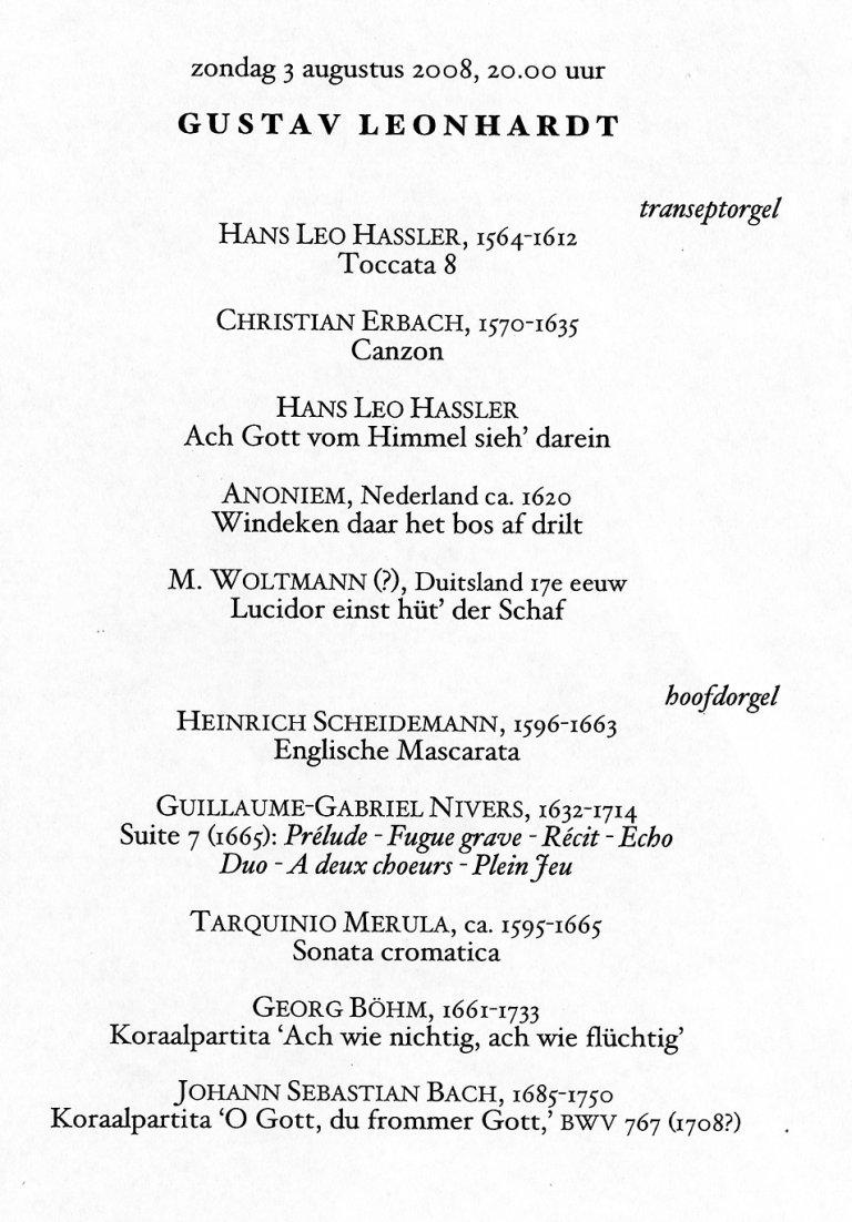 Programma Gustav Leonhardt 3 augustus 2008