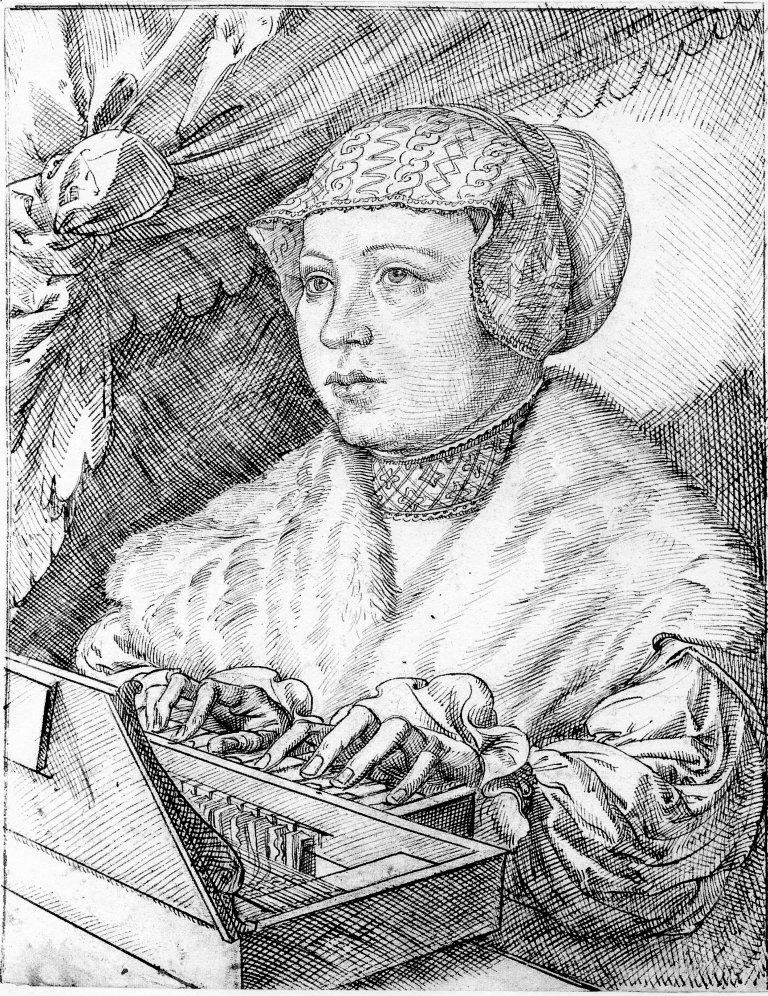 De clavichordspeelster, ets van Jan Corneliszoon Vermeyen (1500-1559)