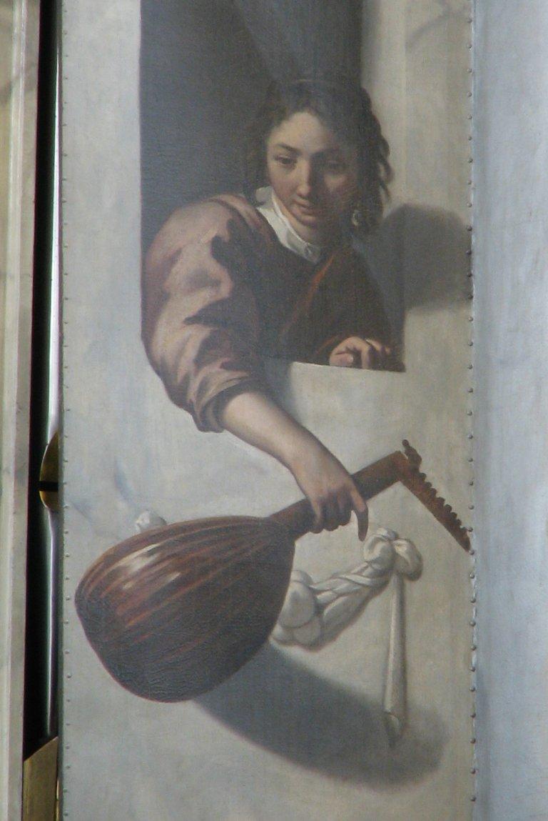 Vrouw met luit, detail luik noorder pedaaltoren