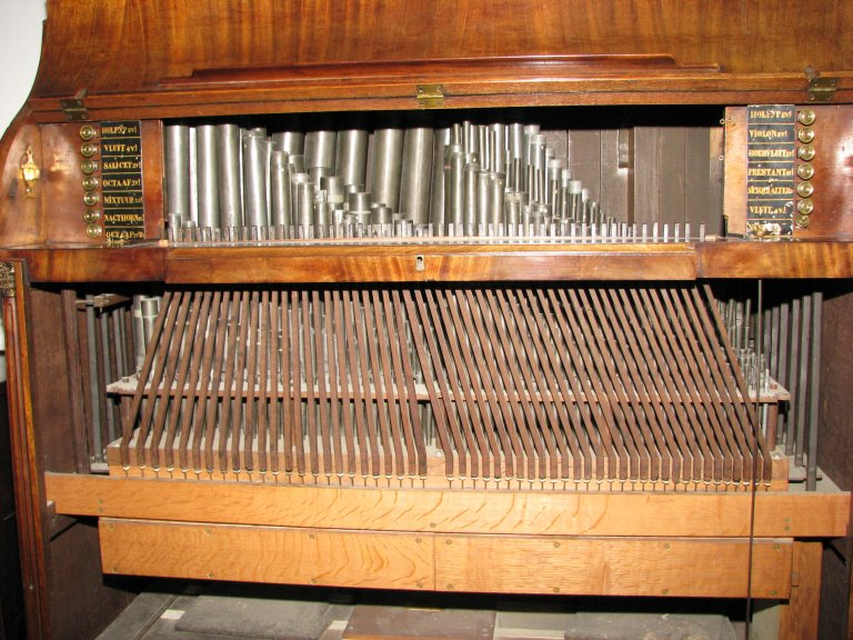 Windlade met slepen en registermechaniek