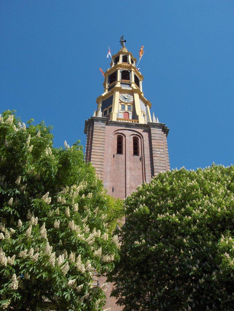 Toren van de Der Aa-kerk te Groningen vanuit het westen