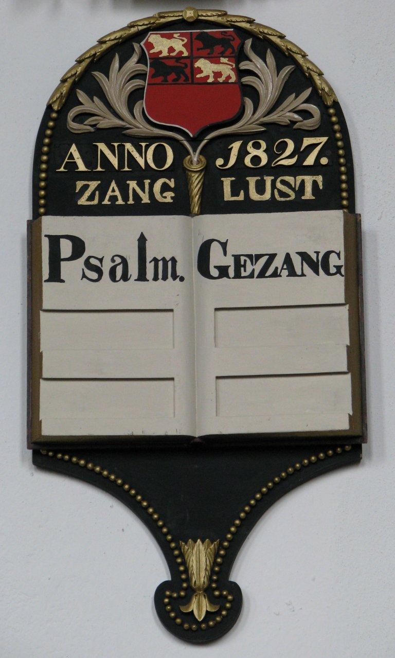 Psalmbord met gemeentewapen 1827