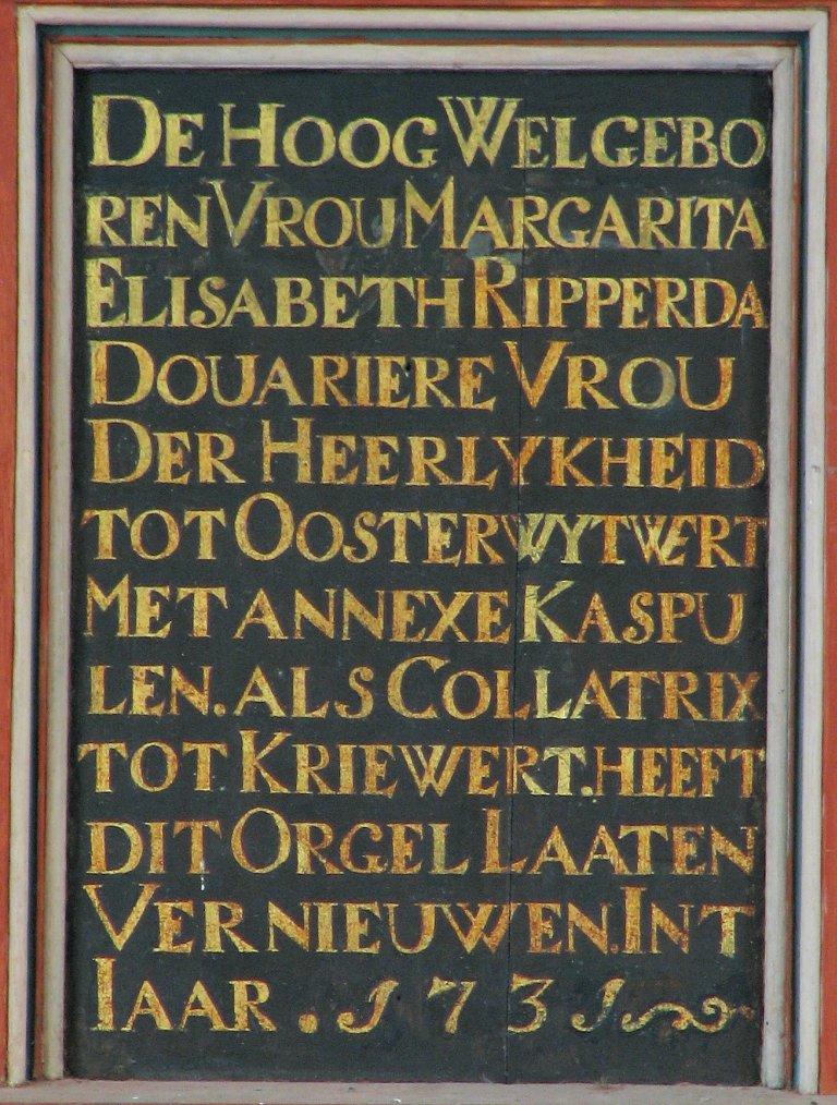 Dorpskerk Krewerd Tekst 1731