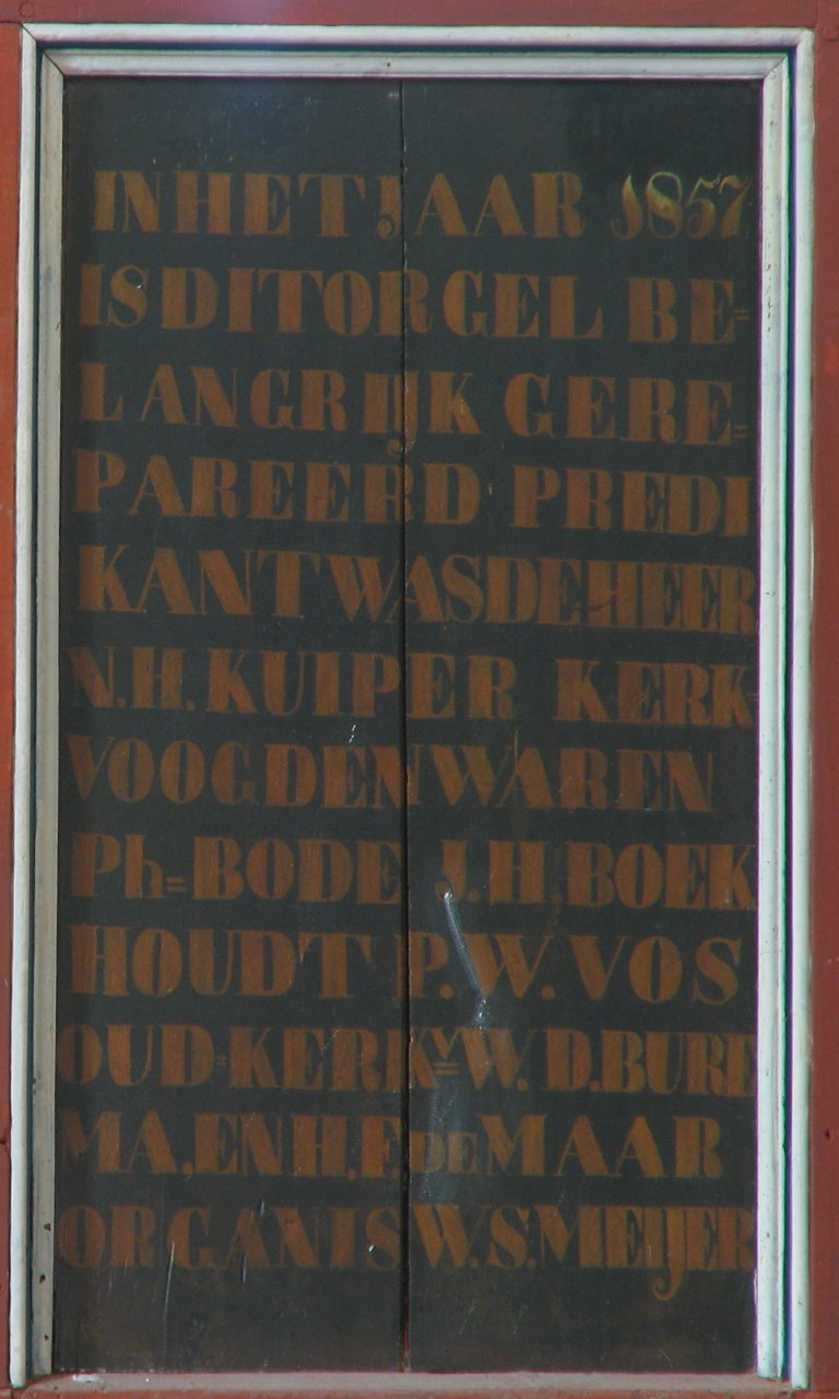 Dorpskerk Krewerd Tekst Anno 1857