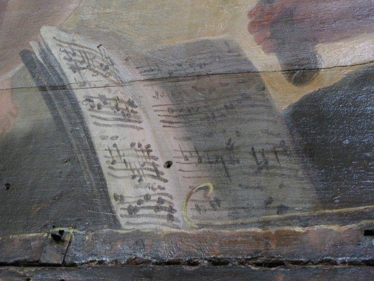 Schilderwerk hoofdwerkkast muziekboek boven de speeltafel