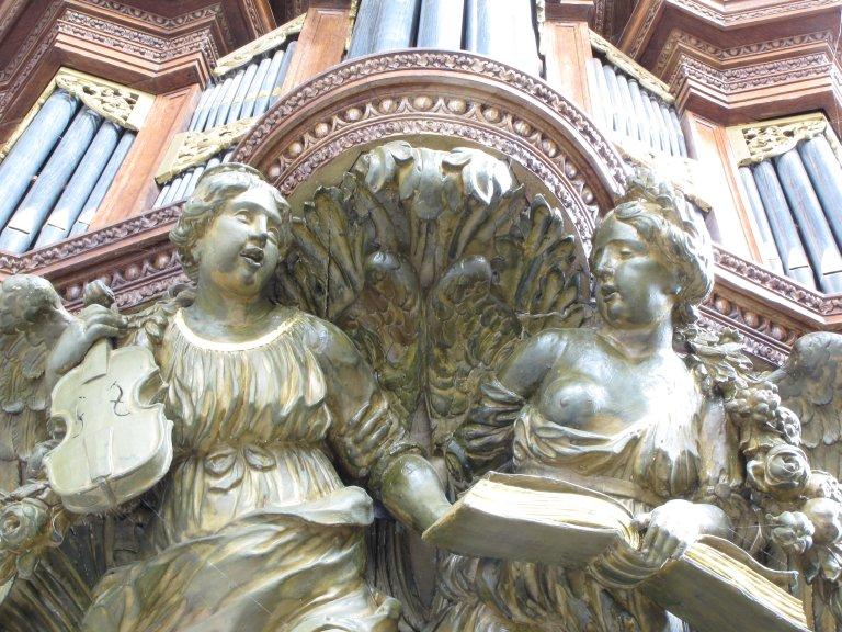 Lampet Rugpositief twee engelen detail