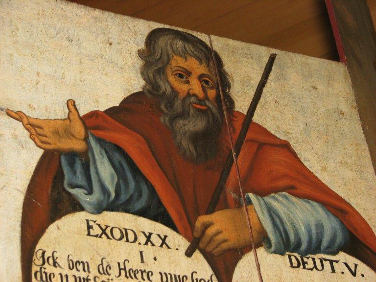 Midwolde Dorpskerk, Rechter luik, Mozes detail