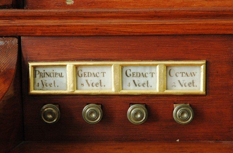 Orgel Ibe Peters Iben 1790, Registers links
