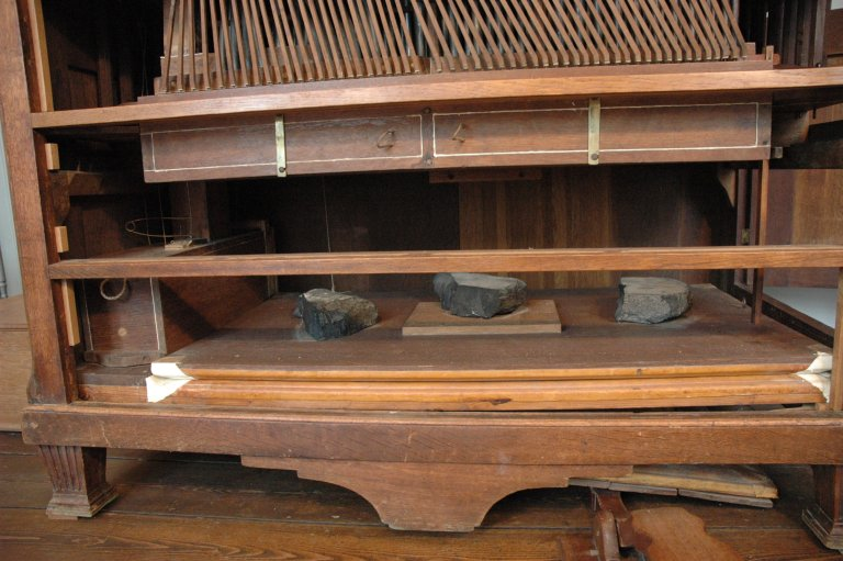 Orgel Jan Jacob Vool ca. 1800, Stekermechaniek, windlade en balg